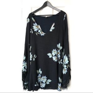 Free People- Navy Floral Dress with Bell Sleeves